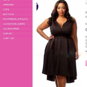 PlusSize Hi-Lo curvy girl Cocktail Dress in Black